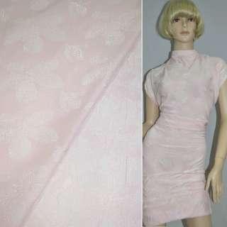 фукра бледно-розовая с рисунком цветы