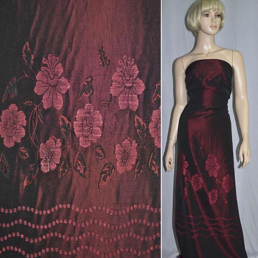 Фукра бордовая в цветы, купон ш.158