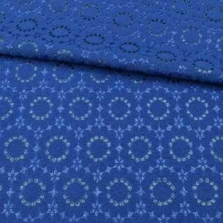Жакард-фукра з метаніттю синій ультра, квіти, ш.142