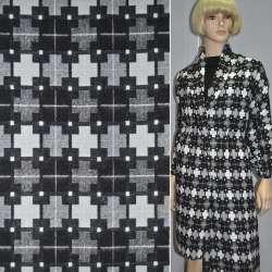 Жаккард костюмний чорний з сірими і білими хрестами