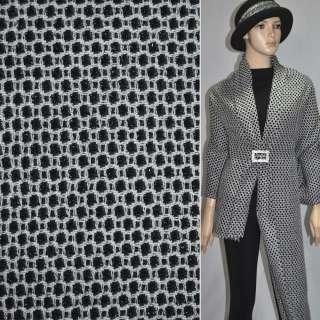 Жаккард костюмний чорний в дрібні білі квадрати з люрексом ш.150