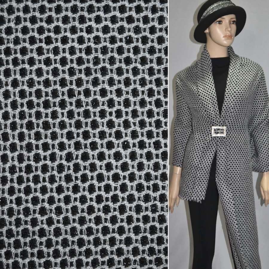 Жаккард костюмный черный в мелкие белые квадраты с люрексом ш.150