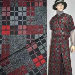 Ткань костюмная серая в черно-красные квадраты ш.150