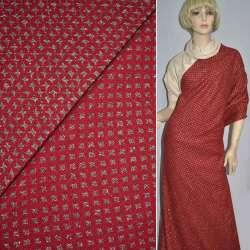 Жаккард костюмний червоний в бежеві зірки з люрексом ш.150