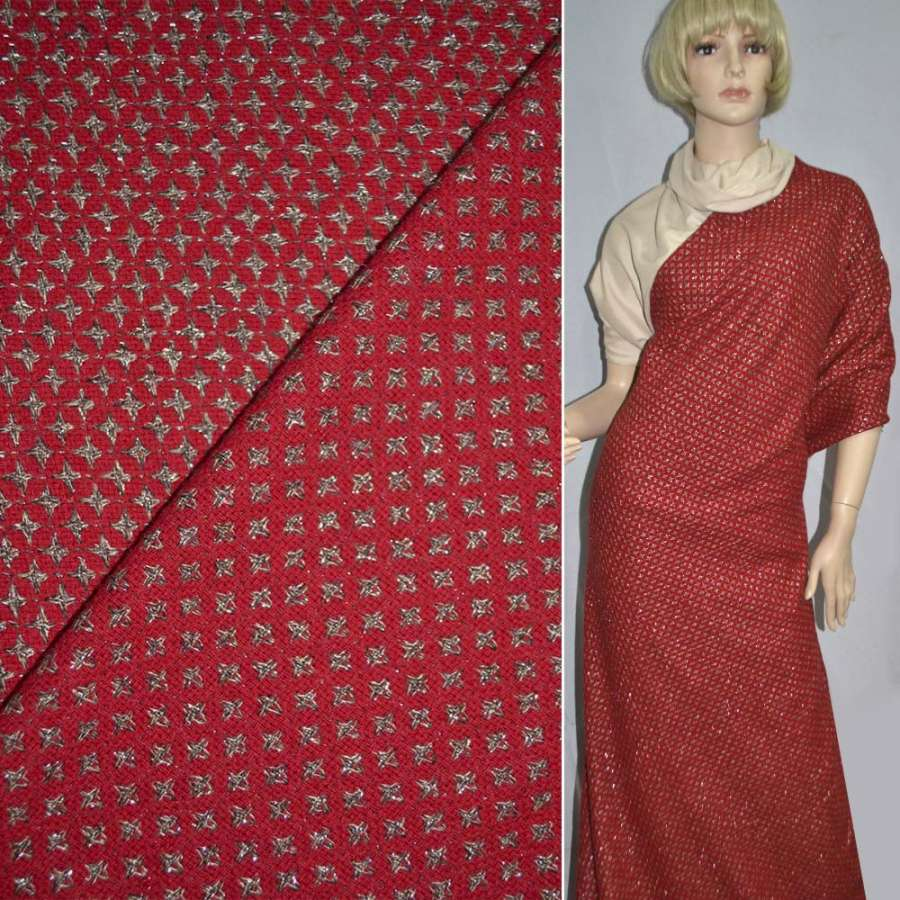Жаккард костюмный красный в бежевые звезды с люрексом ш.150