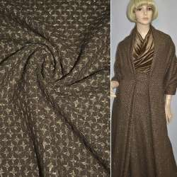 Жаккард костюмный коричневый в бежевые звезды с люрексом ш.150