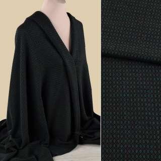 Жаккард костюмный черный в зелено-коричневые ромбики ш.152