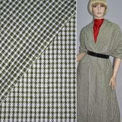 Ткань костюмная белая в черные и зеленые квадраты