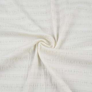 Рубашечная ткань стрейч в полоску жатую, белая, ш.85