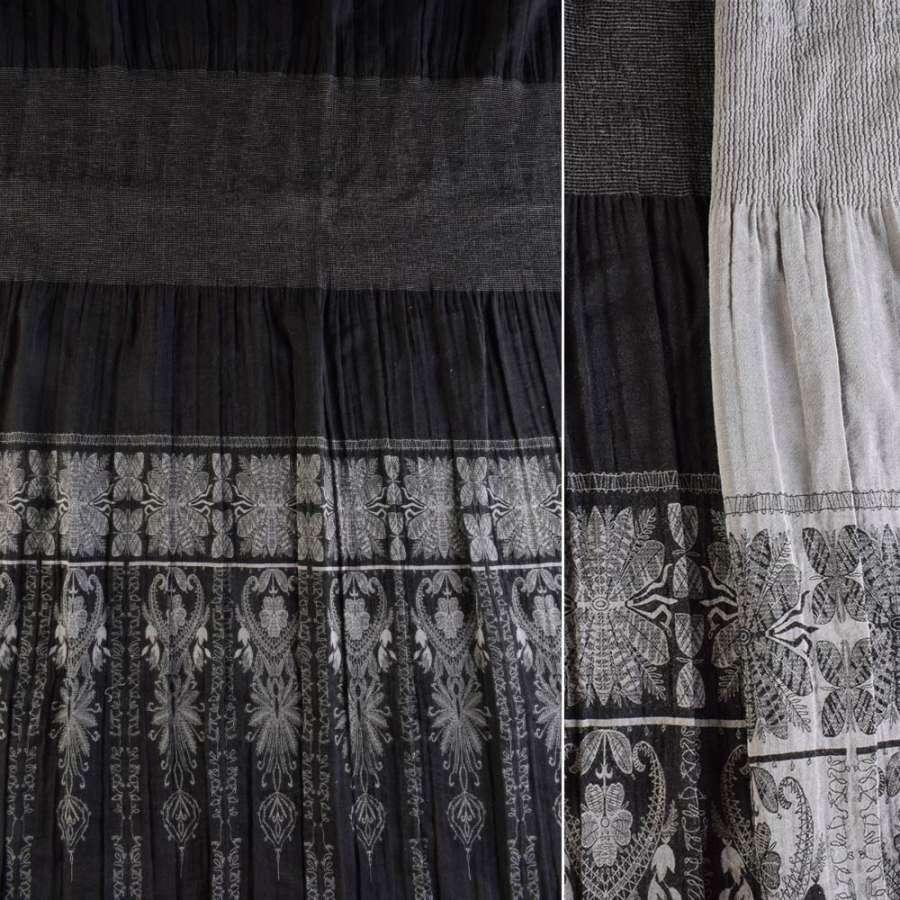 Жаккард фукра черная, серый купон (юбка резинка 20 см), ш.120