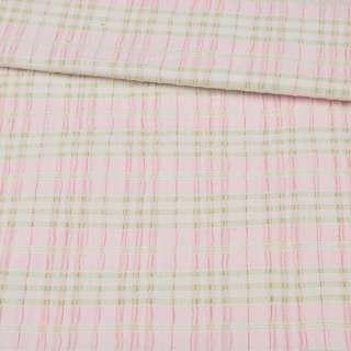 Рубашечная ткань стрейч в полоску салатовую, жатую, розовая, ш.145