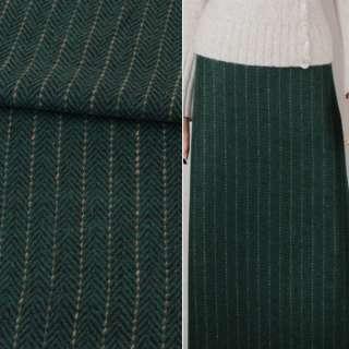 Ткань костюмная елочка черно-зеленая с бежевой полоской ш.147