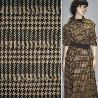 Ткань костюмная коричневая темная с бежевыми полосками и рваными нитями