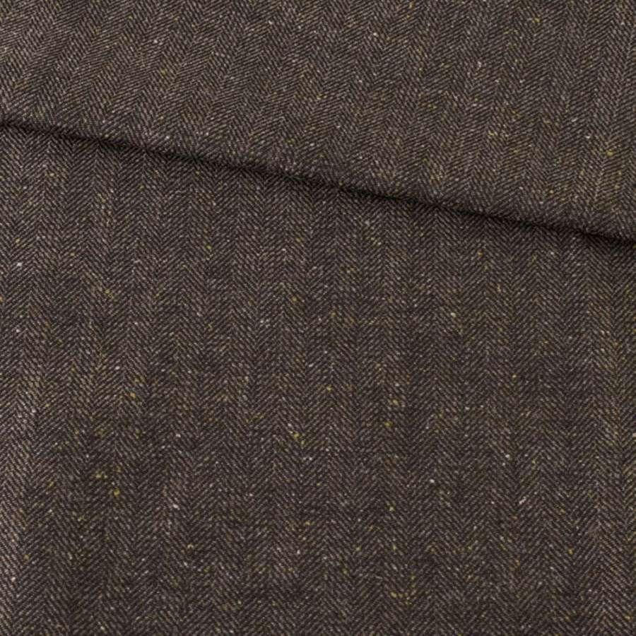 Твид елочка бежево-черный с белыми узелками, ш.150