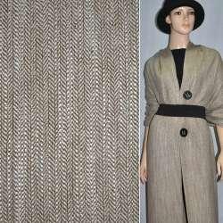Ткань костюмная коричневая в жаккардовую елочку с белыми точками
