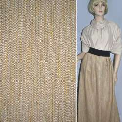 Ткань костюмная песочная в елочку и оранжево-салатовые штрихи