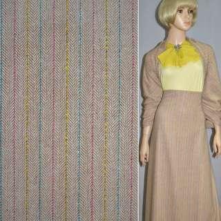 Ткань костюмная коричневая светлая с желто-розово-голубой нитью