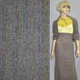Ткань костюмная коричневая елочка с желто-розово-голубой нить
