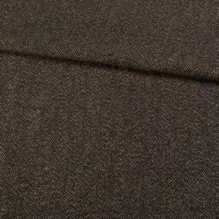 Твид елочка коричнево-черный (оттеночная темная полоса 25см вдоль кромки), ш.155