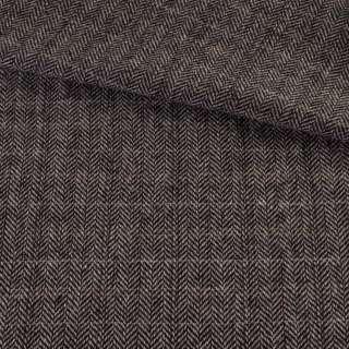 Твид елочка серо-черный, бежевые, молочные полоски, ш.155