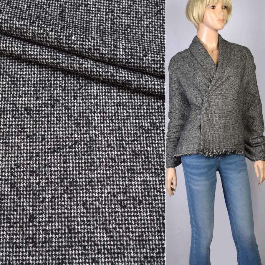 Твид-букле черно-белое плетение с узелками ш.141