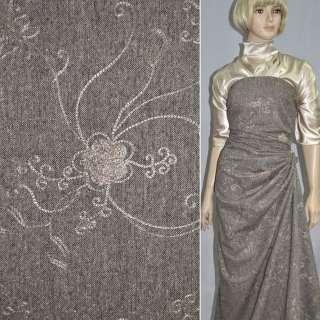 Твид коричневый с вышитыми цветами и серебряным люрексом купон ш.150