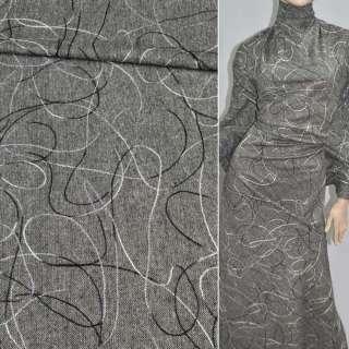 Твід сірий з вишивкою з різнобарвною нитки з блискітками, ш.150