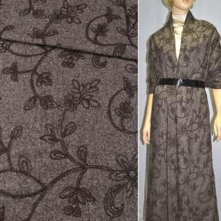 Твід темно-коричневий з коричневою вишивкою, ш.150