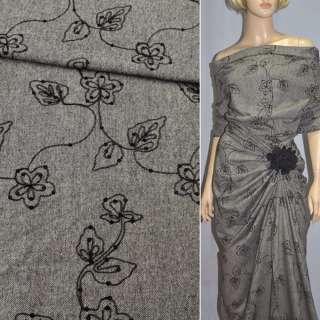 Твид серый с черными цветами и пайетками, ш.150