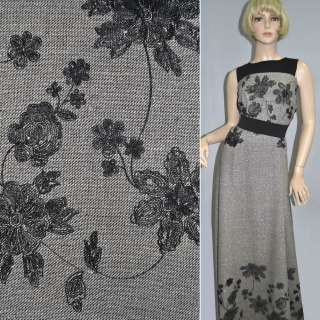 Твід чорно-білий з вишитими чорними кольорами і срібним люрексом ш.150