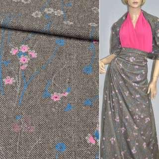 Твид коричнево-белый с розово-голубыми цветами и блестками, ш.145