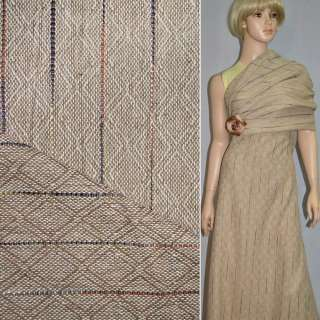 Твід пісочний жакардове плетіння в ромби