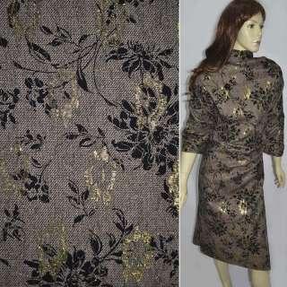 Твид коричнево-белый с черным флоком и золотой вышивкой ш.150