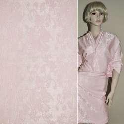 Коттон жаккард серебристо-розовый