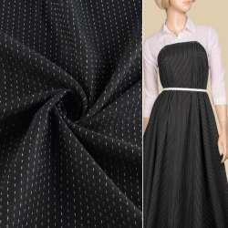 Жаккард черный в черные ромбы с белыми штрихами, ш.140
