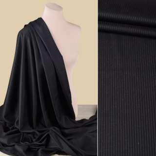 Ткань костюмная с вискозой черная в черную полоску, ш.150