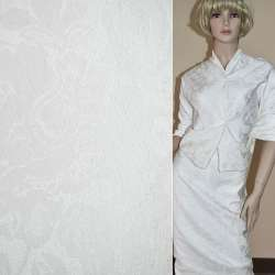 Жаккард белый в цветы ш.150