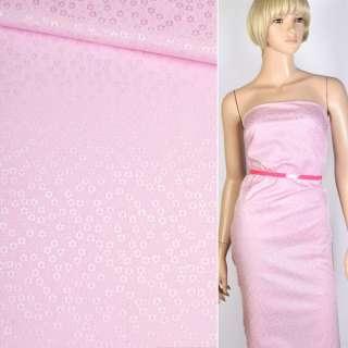 Коттон-жаккард розовый в цветы ш.150