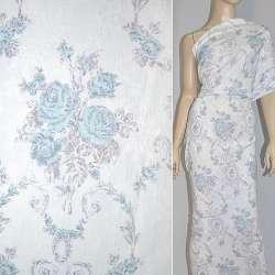 Жаккард белый с серо-голубыми цветами ш.145