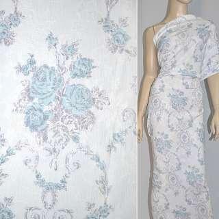ткань жаккард. белая с серо-голубыми цветами ш.145
