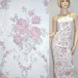 Жаккард белый с серо-розовыми цветами ш.145