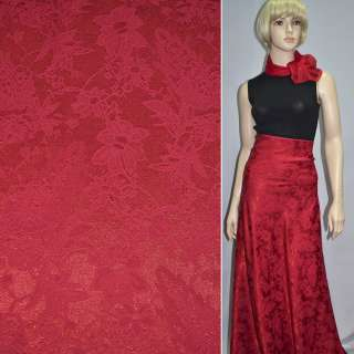 ткань жаккард. красная с тиснеными цветами ш.155 см.
