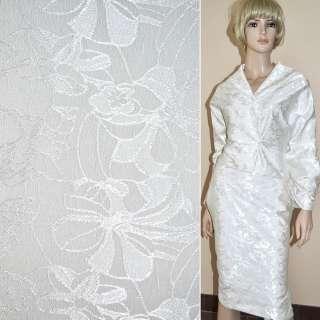 Жаккард костюмний молочний з трояндами ш.150