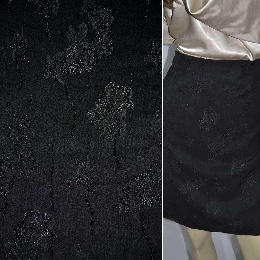 Жаккард костюмный петлевидный черный ш.140