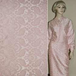 Жаккард костюмний рожевий з тисненим малюнком ш.150