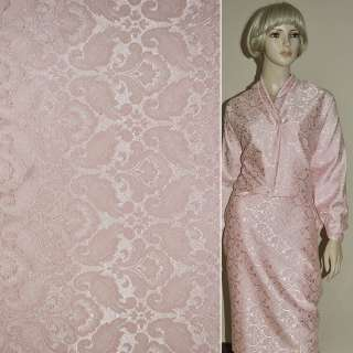 ткань кост. жаккард. розовая с тиснен. рис. ш.150