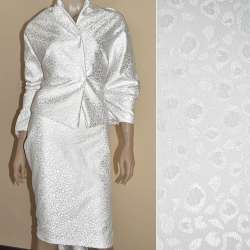 Жаккард костюмний білий з краплями ш.150