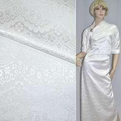 Жаккард костюмный белый корона ш.150