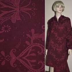 Жаккард костюмный бордовый с абстрактным рисунком