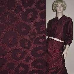 Жаккард костюмный бордовый темный с рваными кольцами ш.150